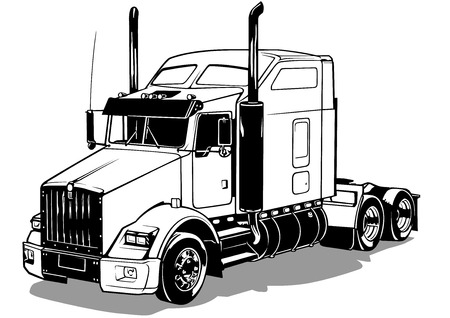 semi truck: American Truck - Black Outlined Illustration, Vector