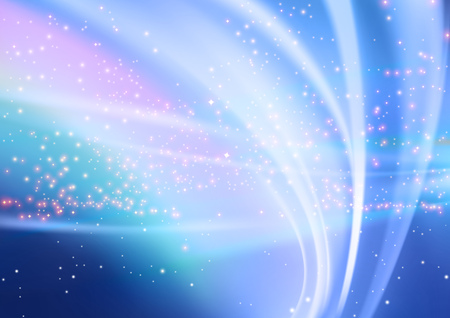 Abstract Glowing Light Beams and Starry Sky Background - Illustration, Vector