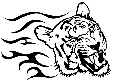 undomesticated: Tiger Head with Flames - Black and White Drawing Illustration, Vector Illustration