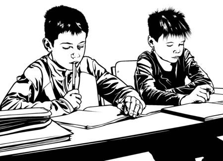 black boys: School Kids with Pens and Notebooks in Classroom - Illustration, Vector