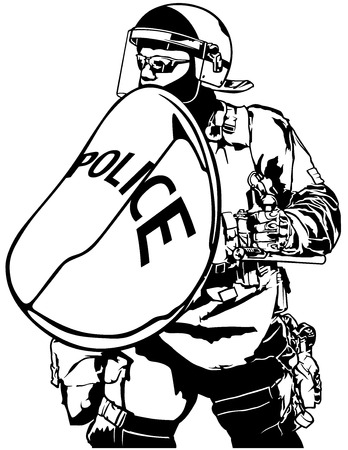 intervention: Police Heavy Armor with Shield - Black and White Illustration