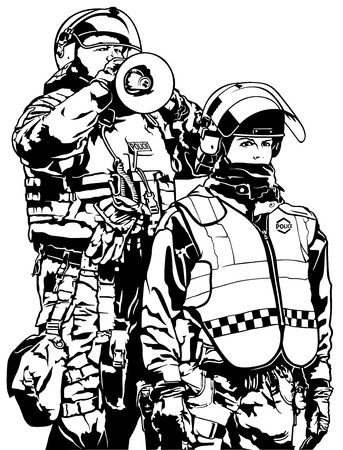 suppression: Police Heavy Armor - Black and White Illustration Illustration