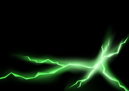 rift: Green Lightning Cracks with Glowing Effect - Abstract Background Illustration Illustration