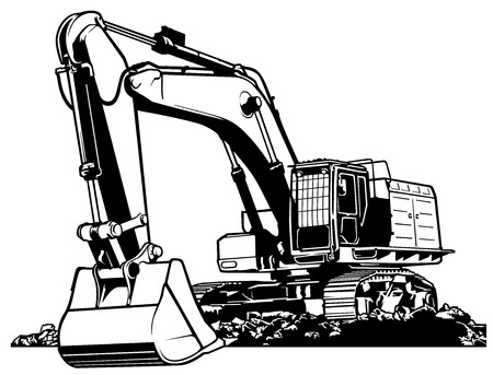 Excavator Black and White Outlined Illustration