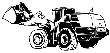 industrial vehicle: Loader Black and White Illustration - Outlined Illustration
