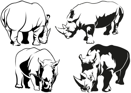 animals outline: Rhinoceros Tattoo Drawings - Black and White Illustrations