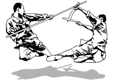 martial arts: Kung-Fu Fighters Sketch - Black and White Illustration