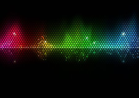 audio wave: Colorful Audio Wave and Wire Mesh Pattern Illustration