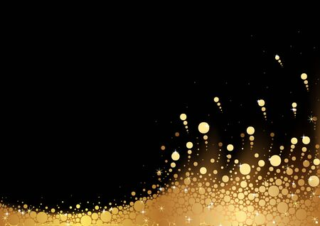 snow background: Golden Snow over Black Background - Abstract Illustration, Vector