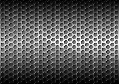 perforated: Chrome Perforated Metal Grid Background - Detailed Illustration, Vector