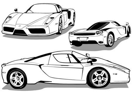 Sportwagen von 3 Ansichten - Schwarz-Weiß-Umriss Illustration, Vektor
