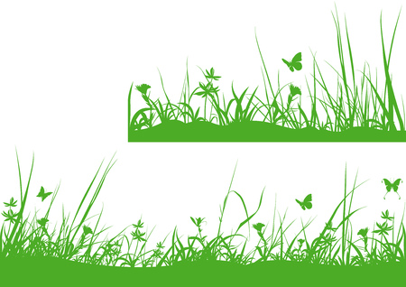 tuft: Green Meadow Silhouette - Background Design Element, Vector Illustration