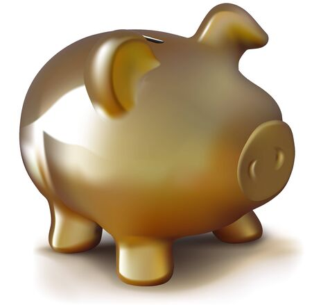savings account: Golden Piggy Bank - Colored Illustration, Vector