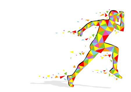 man abstract: Running Pixel Man - Abstract Colorful Illustration, Vector