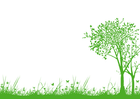 tree silhouette: Nature Silhouettes with Grass and Trees - Background Illustration, Vector