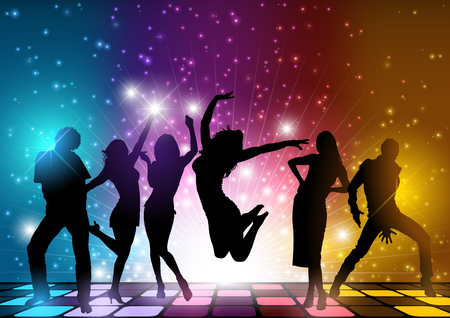 youngsters: Party People Background - Dancing Silhouettes Illustration, Vector