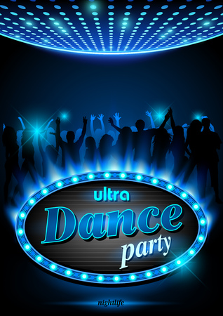 DAnce background: Neon sign ultra Dance Party in light frame with blue flames - Background, Vector