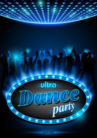Signo de neón de ultra Dance Party en el marco de la luz azul con llamas - fondo, vector