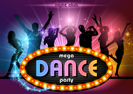 light beams: Party People Background with Neon Sign Mega Dance Party - Illustration Stock Photo