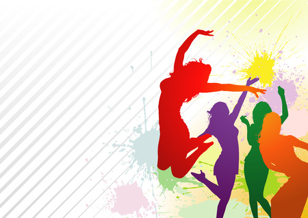 DAnce background: Dancing Colorful Girl Splash - Abstract Dance Party Background Illustration Illustration