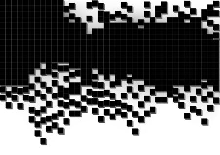 scattered: Black Scattered Cubes Background - Abstract Mosaic Illustration