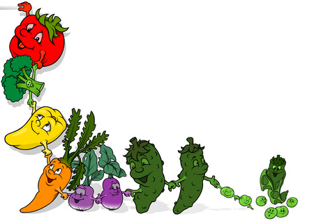 vegetarian food: Happy Vegetables Background - Cartoon Cheerful Illustration Illustration