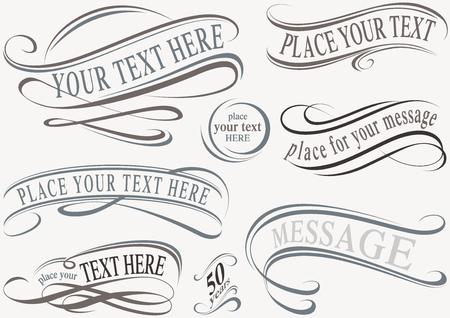 calligraphic design: Calligraphic Design Elements - Typographic Illustrations