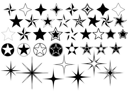 illustration collection: Collection of Star Isolated on White Background - Black Illustration