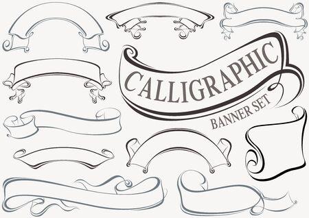 formal: Calligraphic Banner Set - Design Elements Illustration Illustration