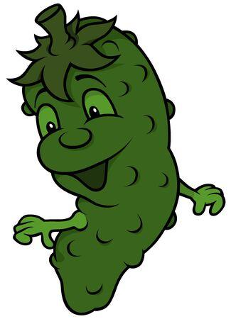 gherkin: Happy Cartoon Cucumber - Cheerful Colored Illustration Illustration