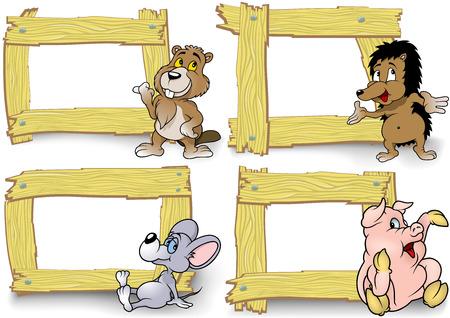 marco madera: Marco de madera con dibujos animados Conjunto de animales - Ilustración Vectores