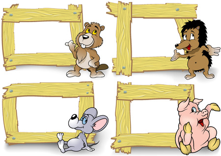 Wood Frame with Cartoon Animal Set - Illustration