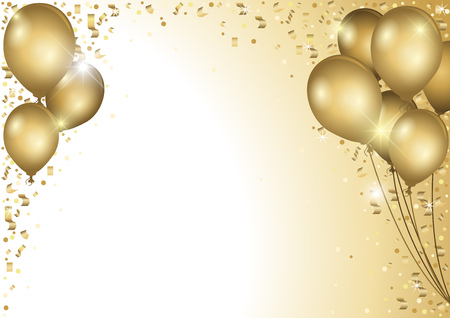 Holiday Background With Gold Balloons and Falling Confetti - Colored Illustration Vettoriali