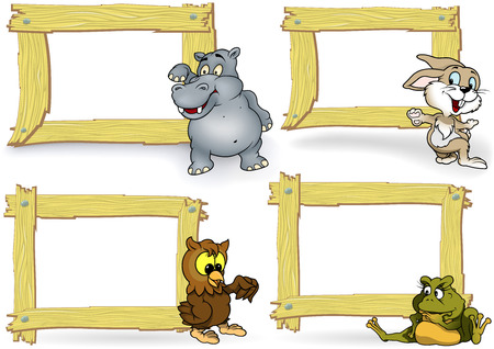 wood frame: Wood Frame with Cartoon Animal Set - Illustration