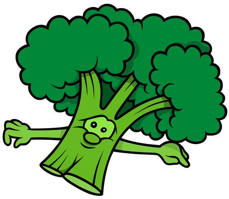 green face: Green Broccoli with Face - Cartoon Illustration