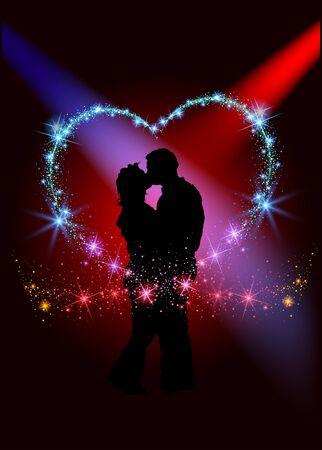 pareja abrazada: Amantes dentro del corazón espumoso - Ilustración abstracta del fondo Foto de archivo
