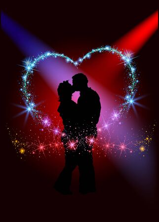 amorous: Lovers inside the sparkling heart - Abstract Background Illustration