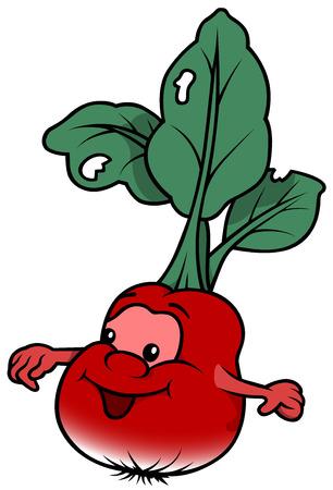 nourishment: Smiling Cartoon Radish - Cheerful Illustration