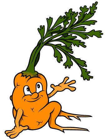 root vegetables: Cartoon Carrot Sitting - Colored Illustration