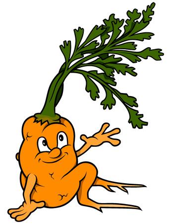 zanahoria caricatura: Sentado de dibujos animados de zanahoria - de color Vectores