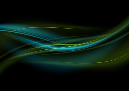 dynamic movement: Green-Blue Light Waves - Abstract Background Illustration, Vector