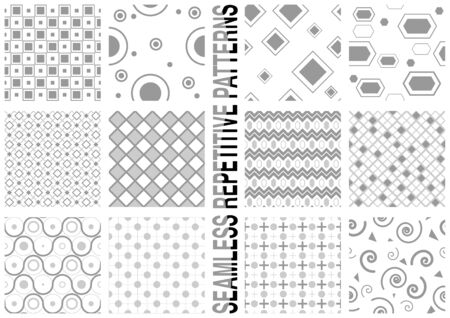 12 Seamless Patterns - Repetitive Background Textures Illustration, Vector