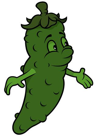 gherkin: Green Cartoon Cucumber - Cheerful Illustration, Vector