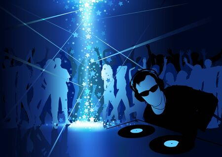 discotheque: DJ Dance Party Background - Light Show and Dancing Crowd, Vector