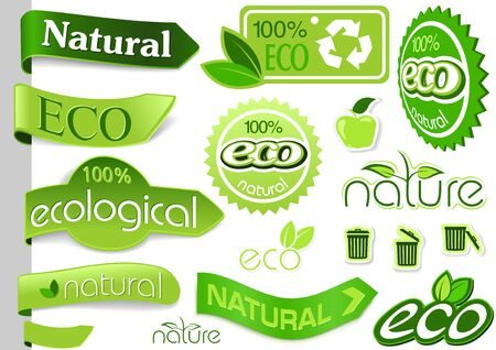 eco icons: Collection of Eco Banners and Icons - Green Nature Illustrations, Vector