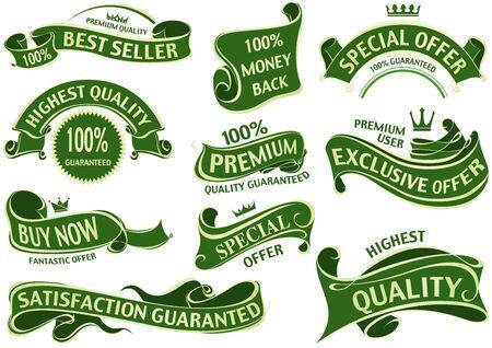 green ribbon: Green Ribbon Set - Set of Labels Illustration Illustration