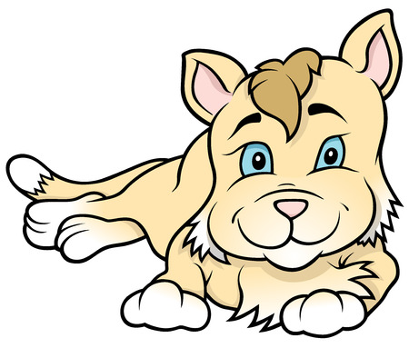 Kitten Laying - Colored Cartoon Illustration