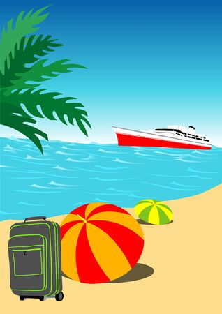 holiday background: Summer Holiday Background - Colored Illustration