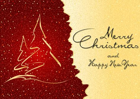 xmas background: Abstract Christmas Greeting - Xmas Tree and Gold Glittering Background Illustration