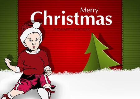 hem: Christmas Greeting Card with Kid Santa Claus - Illustration